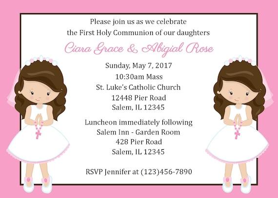 Pierwsza Komunia Zaproszenie Twin Girls Plik Cyfrowy Pierwsza Komunia Zaproszenie Dla Dwóch Dziewcząt Dziewcząt Pierwsze Zaproszenie Komunii