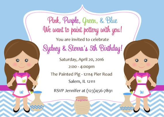 Pottery Birthday Invitation