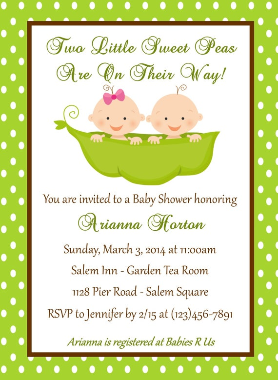graphic regarding Free Printable Twin Baby Shower Invitations identified as Dual Little one Shower Invitation - Peas within just a Pod - Printable