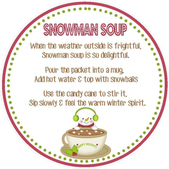 photograph relating to Snowman Soup Printable Tags identify Snowman Soup Desire Tag - Printable Document - Immediate Obtain