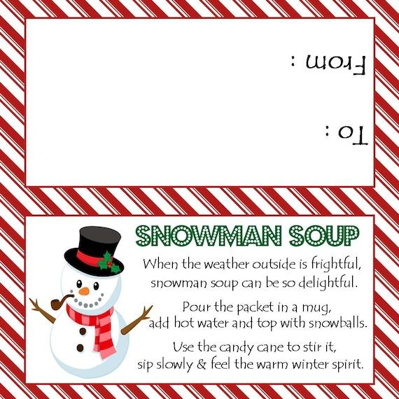 Pancakes and Pajamas Snowman Soup Favor Label  Digital File  Printable  Custom  Pajama Party  Favor Bag  Topper
