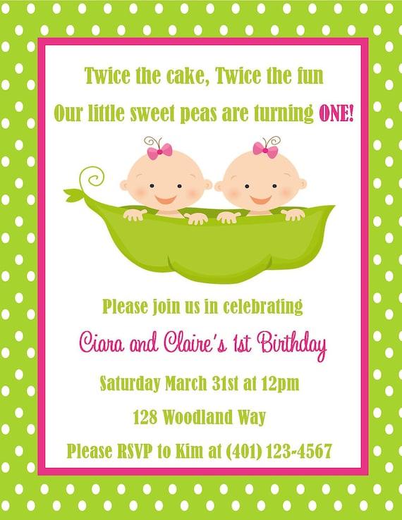 Zwillinge Ersten Geburtstags Einladung Digitale Datei Etsy