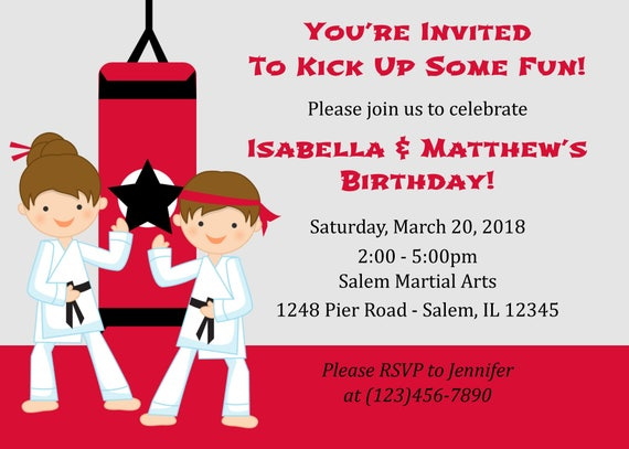 Karate Birthday Invitation For Two Digital File Party Twins