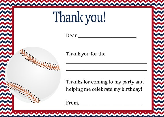 Baseball Birthday Thank You Card Digital File You Print