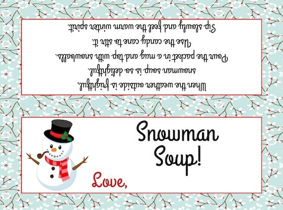 photograph regarding Snowman Soup Printable named Snowman Soup Bag Topper ( Suits Plastic sandwich luggage) - Printable Report - Prompt Down load / Snowman Soup Prefer / Snowman Soup Printable