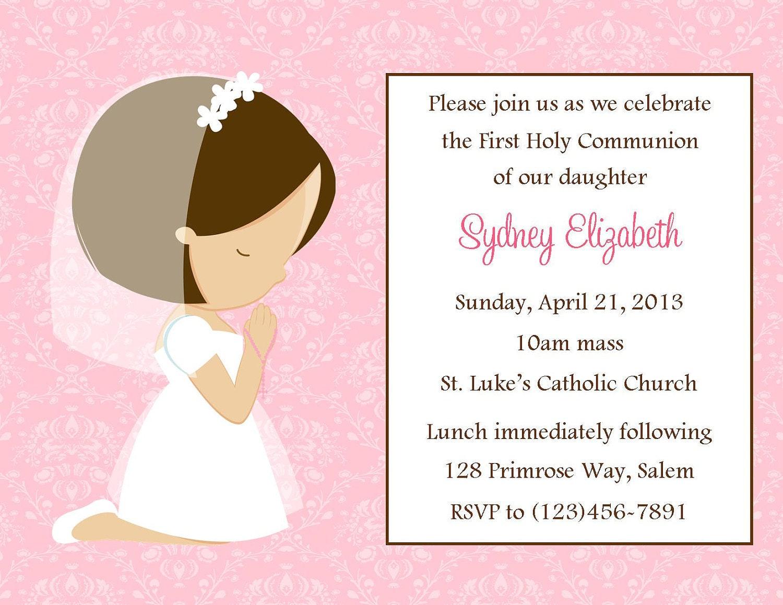 first communion invitation girl digital file 1st etsy