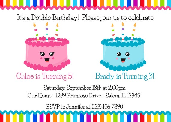 Sibling Double Birthday Invitation