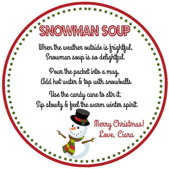 snowman soup personalized favor tag gift tag set of 12