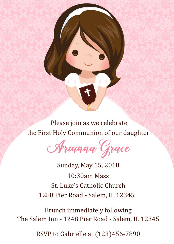 First Communion Invitation Girl Digital File Girls Etsy