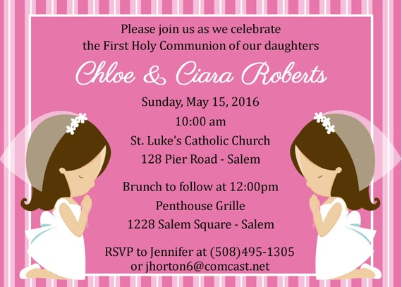 First Communion Invitation Twins Digital File Girls First