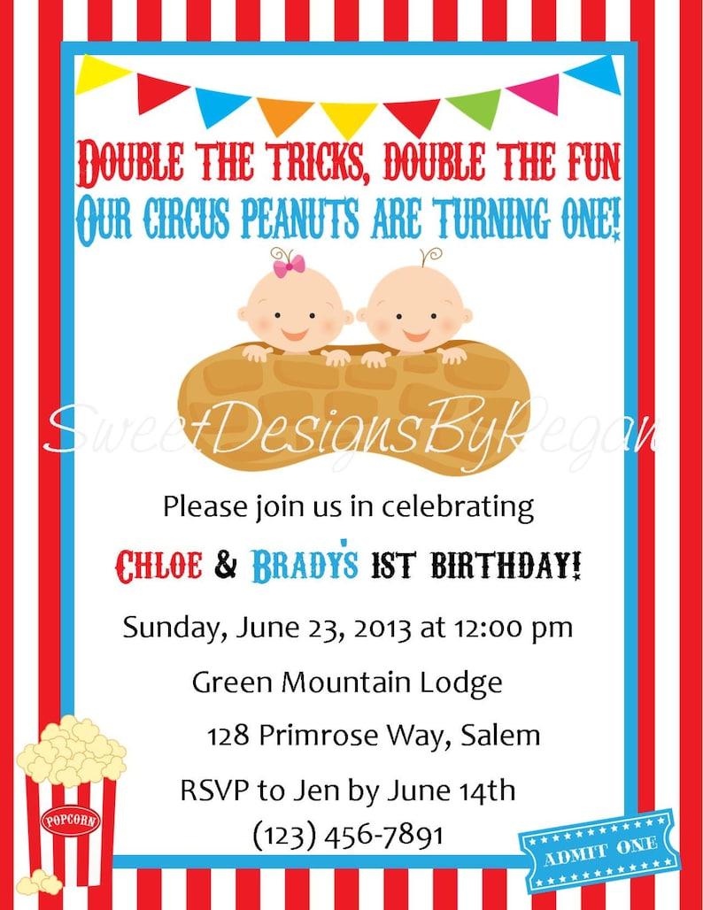 Circus Birthday Invitation Digital File Twins