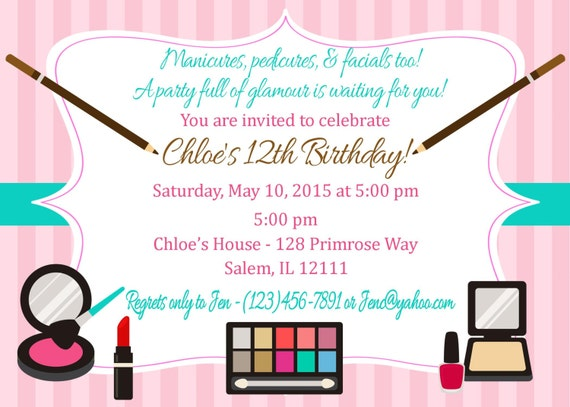 Make Up Birthday Party Invitation Digital File Glamour