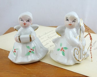 Pair of Vintage Ceramic Christmas Angel Ornaments   Ceramic Angels   Christmas Decorations