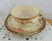 Vintage Satsuma Teacup Trio, Hand Painted Cherry Blossoms, Tea Cup, Saucer and Plate, 1920s