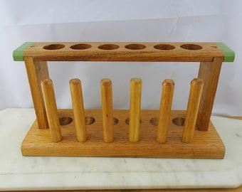 Vintage Wooden Test Tube Rack with Dryers, Test Tube Holder, Chemistry Rack, Mid century Test Tube Stand, Made in Australia