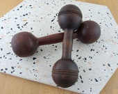 Vintage Wooden Dumbbells, Antique Wood Hand Barbells, Lot of Two Not a Pair