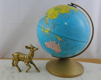 Vintage Tin Plate Metal World Globe, Replogle , Made in USA, Retro Home / Office Decor