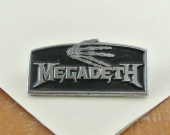 Rare Vintage Megadeth Enamel Metal Pin, Heavy Metal Band Brooch 1988, 1980's Music Band Badge