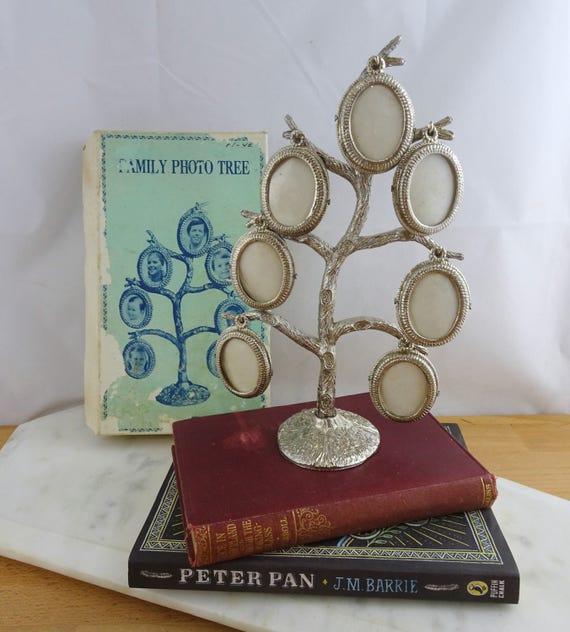 Árbol familiar vintage, marcos de fotos de rama de árbol en cuadro ...
