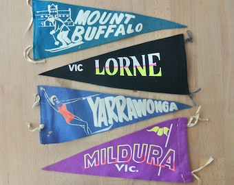 Vintage VIC  Souvenir Pennant from Lorne Mid Century Double Sided