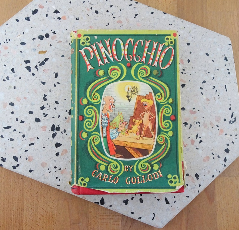 Pinocchio by Carlo Collodi, Vintage Hardcover Book with Dust Jacket,  Beautifully Illustrated, Heirloom Library 1950s