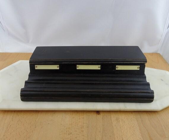Vintage noir encrier en bois avec trous porte bouteille d encre