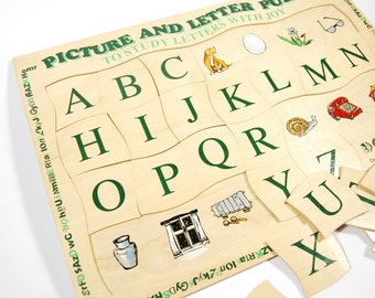 Wooden english alphabet puzzle - wooden reading toy