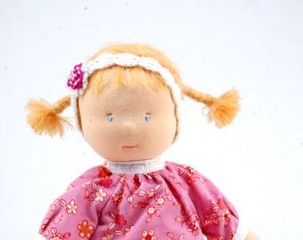 Waldorf doll, waldorf inspired, ecological, handmade, with clothing, Amelia.