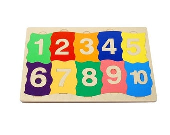 Wooden number puzzle - wooden number learning puzzle for learning numbers, educational puzzle.