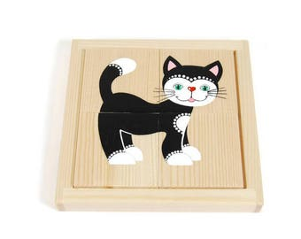 Babies first developing wooden puzzle - first puzzle with five pictures