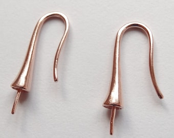Rose Gold Earring hooks with conical bead cap for half drilled drops One Pair G7585