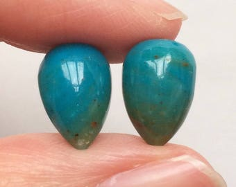 Blue Peruvian Opal Upside down Half Drilled Acorn Drops 8x12 mm One Pair J5770