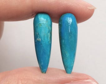 Peruvian Blue Opal Smooth Spike Icicle Drops 6x20 mm One pair J5800