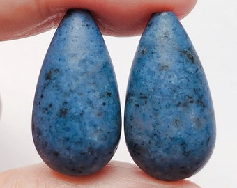 Denim Blue Dumortierite Half Top Drilled Frosted Teardrops 12x22 mm One Pair G7845