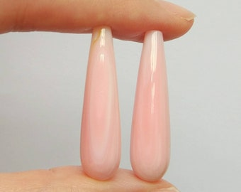 Pink Queen Conch Shell Half Drilled Smooth Long Teardrop Briolettes 8x30 mm One Pair J7603
