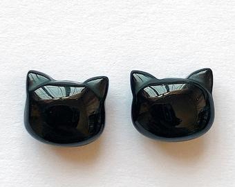 Black Agate Cute Cat Head Beads 8x9 mm Full drilled hole C8527