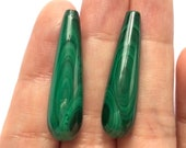 Amazing Green Malachite Half Drilled Smooth Teardrops 8x30 mm One Pair C8439