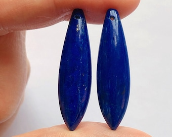 AA Grade Blue Lapis Lazuli Smooth Long Flat Drops 8x30x6 mm with drilled hole One Pair G9065