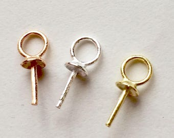 4 mm Connector Ring 925 Sterling Silver SS / Gold Vermeil / Rose Gold 3 mm Bead cap with peg and link for half drilled beads 4 Pieces