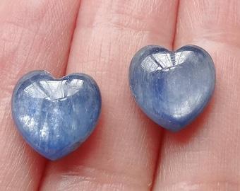 A Grade Sapphire Blue Kyanite Half Top drilled Heart Drops 10 mm One Pair F2478