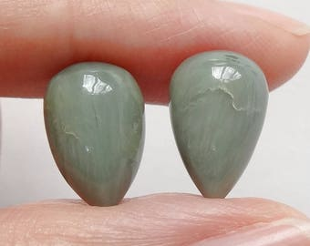 Chrysoberyl Upside down Half Drilled Acorn Drops 8x12 mm One Pair J6829