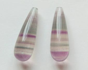 Green Purple Banded Fluorite Half Top Drilled Teardrops 8x25 mm One Pair J6248