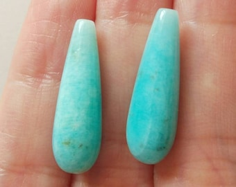 Peruvian Amazonite Smooth Half Top drilled Teardrops 7x22 mm One Pair Perfect for earrings F3880 F4411