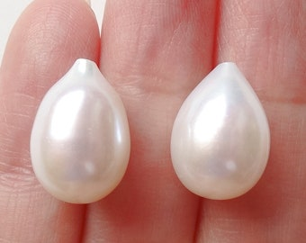 A grade Half Top drilled White Freshwater Pearl Teardrops 10-10.5 mm wide One Pair Perfect for Earrings F3140