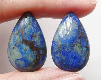Rare Chrysocolla Quartz Pear Drops with drilled hole One Pair - Various sizes and pairs available K7190 G6332