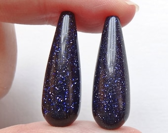 Blue Goldstone Half Top drilled Smooth 8x25 mm Teardrops One Pair - Perfect for earrings K6170
