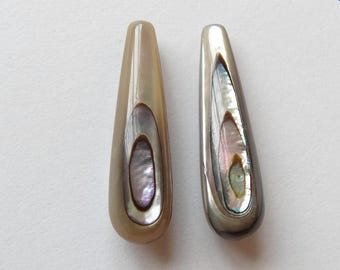 Paua Abalone Half drilled Teardrops 8x30 mm One Pair Perfect for earrings K5914