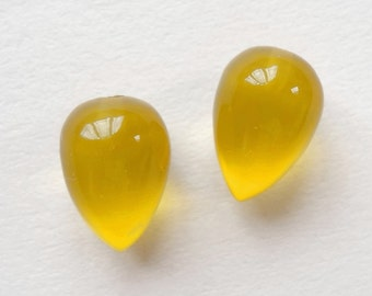 Mustard Yellow Chalcedony Upside Down Half Drilled Acorn Inverted Drops 8x12 mm One Pair  J6753