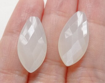 White Moonstone Half Drilled FACETED Marquise Drops 10x20x6 mm  One Pair - Perfect for earrings K5606