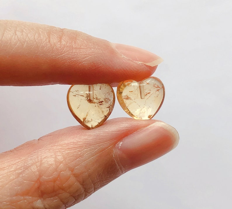 A Grade Golden Yellow Citrine Half Top drilled Heart Drops 10 mm One Pair C5386 C5547